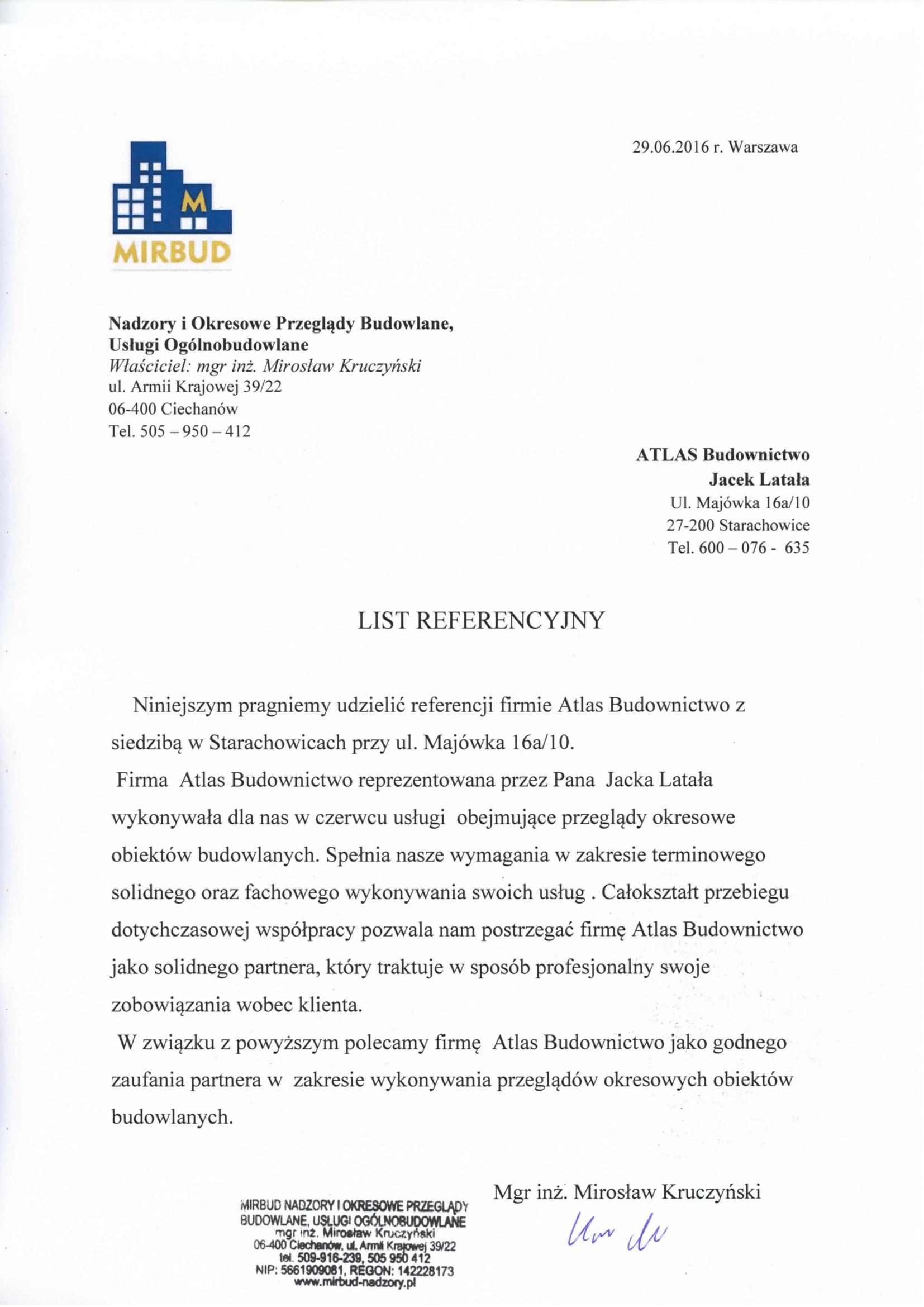 """Referencje od Mirbud z Ciechanowe za """"Przeglądy Okresowe"""""""