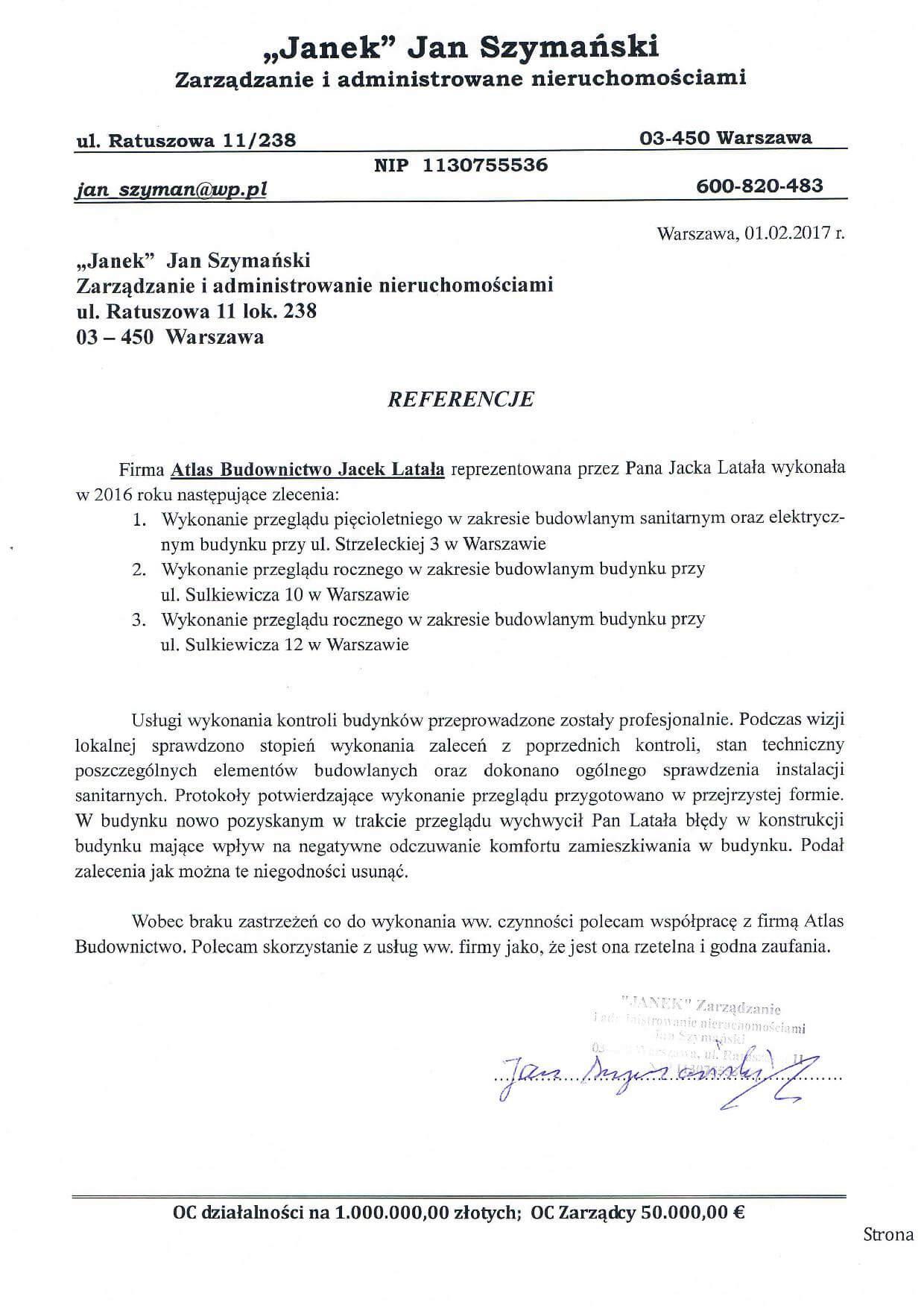 Referencje od p. Jana Szymańskiego za Przeglądy Budowlane